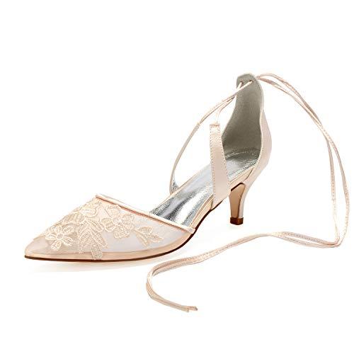 Los Tacones Altos Nupciales Del Bolso De Las Mujeres Arquean Los Zapatos De La Boda Del Partido Del SatéN,Champagne,36