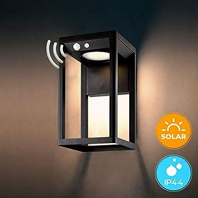 BRIMMEL Outdoor Solar Wall Light with Motion Senor 60W Waterproof 8H Endurance Cordless Decor Wall Lamp Light for Porch, Patio. Solar Energy, Aluminum, Black, SG601040