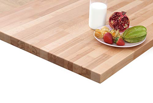 HOUSE OF WORKTOPS - Solid Beech Kitchen Worktops, Length: 1M 2M 3M 4M, Thickness: 27mm and 40mm, Premium Solid Beech Timber Worktops (1M x 620mm x 27mm) (Kitchen & Home)
