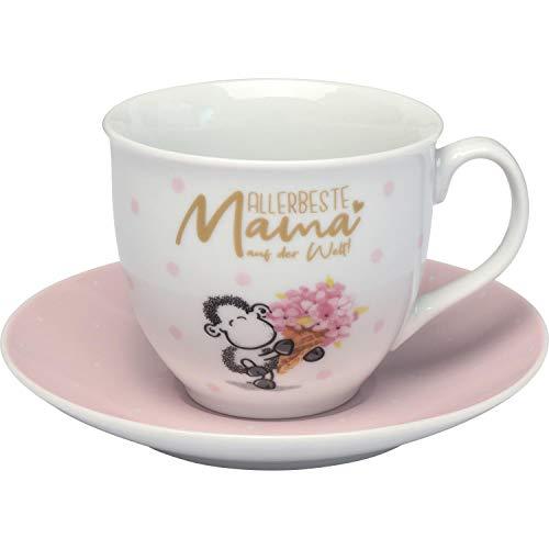 Sheepworld 46883 Untersetzer Allerbeste Mama, Teetasse in Geschenk-Banderole Tasse, Porzellan