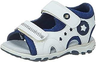 Skippy Velcro Closure Open Toe Sandals for Boys - White and Navy, 20 EU