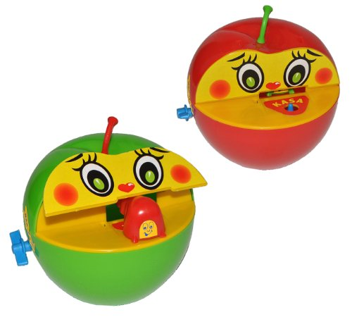 alles-meine.de GmbH 1 STK. Spardose Apfel mit Wurm - mit Bewegung - beim Geldeinwerfen - Sparbüchse Sparschwein für Kinder Apfelspardose