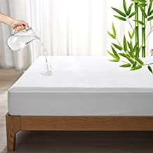 Amazon Brand – Pinzon Premium Breathable Waterproof Mattress Protector Bamboo Fit Up to 18