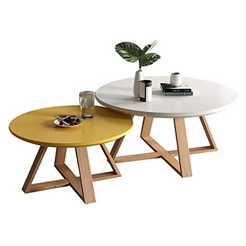 WGFGXQ Nesting Couchtische Set Round End Beistelltische Moderner Cocktail Tisch mit Massivholzbeinen, Wohnmöbel für Home Living Room Office