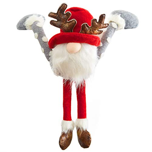Super Festive Large Gnome Shelf Hanger in Red and Gray, Faux Fur. Fun Swedish Tomte Christmas Decoration, Xmas Tree Topper or Holiday Centerpiece. Reindeer Elf Toy for White Elephant and Secret Santa