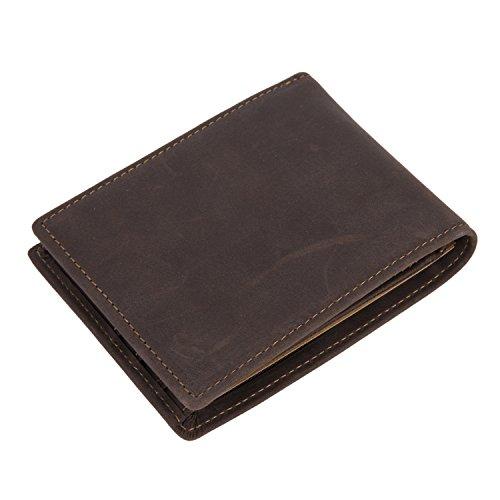 BAIGIO Portafoglio di vera pelle da uomo porta monete e carte di credito, Marrone Scuro