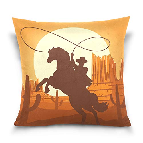 Linomo Throw Pillow Cover 16x16 inch, American Western Cowboys Decorative Pillow Cases Cushion Cover for Couch Sofa Bed Home