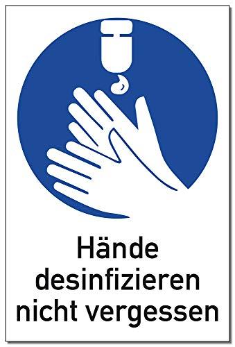 Schild Hände desinfizieren nicht vergessen | Alu 30 x 20 cm | stabiles Alu Schild mit UV-Schutz | Hinweis Handhygiene Handdesinfektion Hände desinfizieren Hygiene