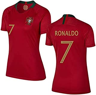 P.F.A Cristiano Ronaldo #7 Portugal Women's Soccer Jersey Home Short Sleeve Adult Sizes