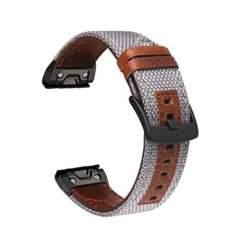 YONGLI Correa de Reloj de Cuero de la Banda de Cuero para Garmin Fenix 5 / 5X Plus / 6 / 6X Pro / MK1 / 935 Pulsera Inteligente 22 26mm Strap de Pulsera de Ajuste rápido rápido