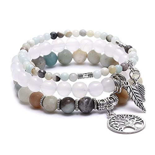 XIMEO Tree of Life Semi Precious Original Design Crystals and Healing Stones Yoga Beaded Bracelets Beach Charm Bracelet Set for Women Girls, - Ocean Jewelry
