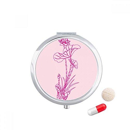 DIYthinker Lotus Leaf Lotus Bloem Riet Bloem Plant Reizen Pocket Pill Case Medicine Drug Opbergdoos Dispenser Spiegel Gift