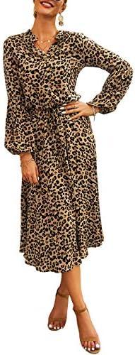 KIRUNDO 2019 Women s Midi Leopard Dress Stylish Long Sleeves High Waist Dress Button Front Drawstring product image