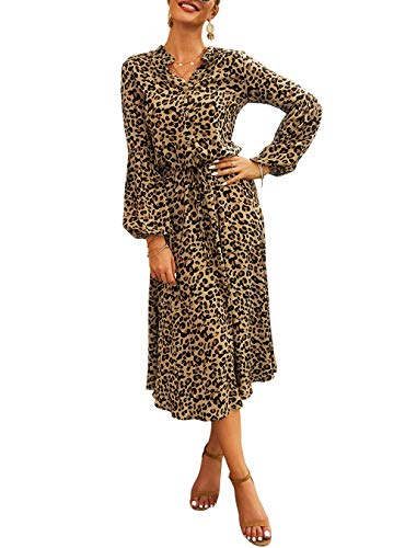 (50% OFF Coupon) Women's Leopard Long Sleeve High Waist Dress $16.99