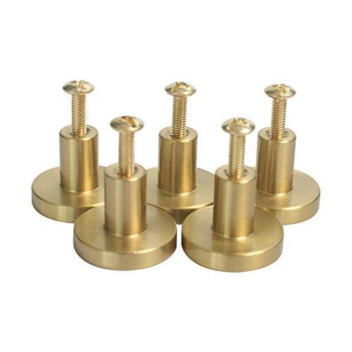 Fenteer Uppsättning av 5 kvalitet borstad guld mässing rund skåpknopp skåp låda byrå möbler dörrhandtag drag