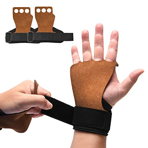 ONLYWIN 3 Hole Natural Leather Hand Grips Crossfit for Women, Men Palm Protector for Pull-ups, Lifting Gymnastic Crossfit Gloves with Wrist Wraps for Hand Protection,Small