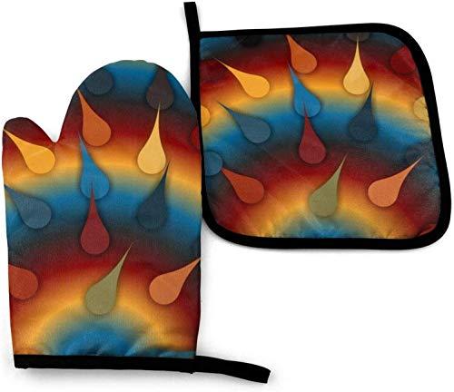SHENLE Rainbow Drops rutschfeste Ofenhandschuhe und Topflappen Grillhandschuhe mit Aufhängeösen zum Kochen, Backen und Grillen