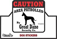 【CAUTION】 Great Dane Security Co. ステッカー:グレートデーン 耐水性 シール Made in U.S.A [並行輸入品]