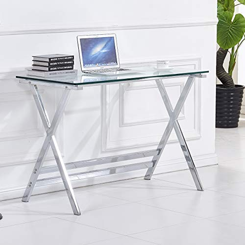 Glass Top Writing Desk,Computer Gaming Desk for Small Spaces, Student Study Desk, Premium Tempered Glass Home Office Desk