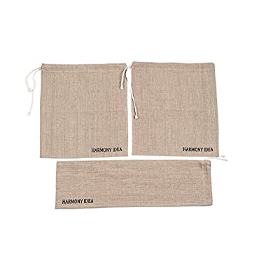 Linen Bread Bags for Homemade Bread. Set of 3-2 Bread bags 15x12.5  and 1 Baguette bag 24x6 . 100% Natural Linen storage bakery bread bags.