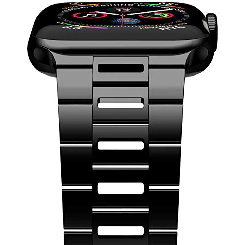 iiteeology Compatible with Apple Watch Band 44mm 42mm, Light Breathable Stainless Steel Band for iWatch Band Series 6/5/4/3/2/1 Men Women - Black