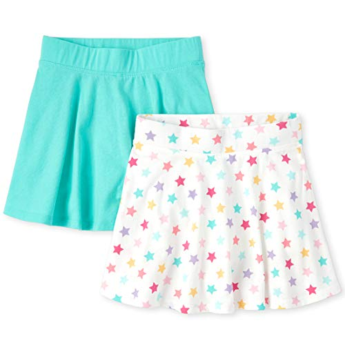 The Children's Place Girls' Printed Skorts, Pack of Two, Sea Frost, M (7/8)
