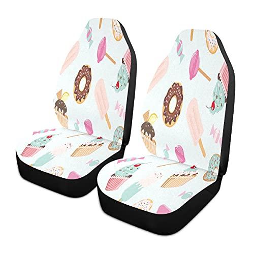 BOLOL Cupcake Ice Cream Donut - Funda para asiento delantero de coche, protector de asiento de vehículo, Lollipop Fruit Ajuste universal para auto, camión, furgoneta SUV 2