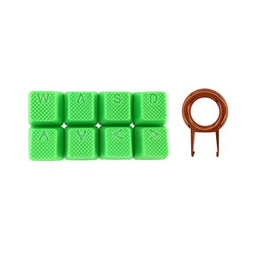 Rubber Gaming Backlit Keycaps Set - 8 Keys Rubberized DoubleShot Key Caps for Cherry MX Mechanical Keyboards Compatible OEM Include Key Puller (Neon Green-8 Keys)