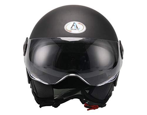AL Helmets - CASCO DEMI-JET MOD. 101/BIS NERO OPACO MISURA L - DOPPIA VISIERA