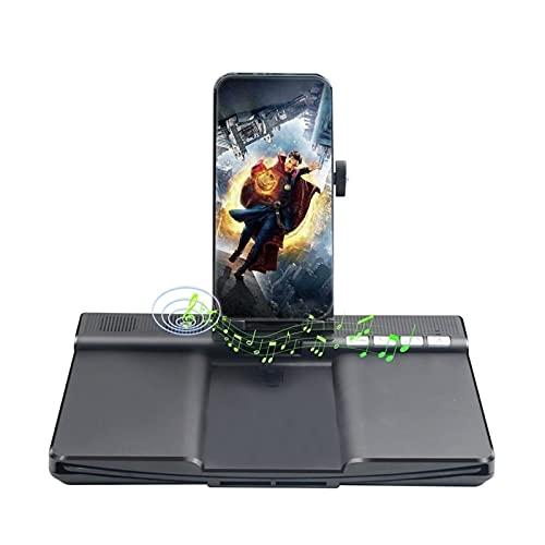KHUY 12in Amplificador Pantalla Movil, Soporte para Movil, Pantalla para Moviles Lupa HD 3D Pantalla Amplificador Smartphone con Altavoz Bluetooth, Soporte Movil Mesa Plegable