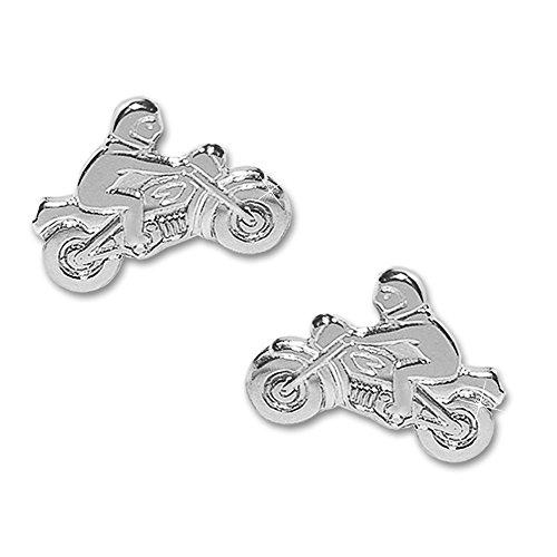 Clever Schmuck Silberne kleine Ohrringe Motorradfahrer 8,5 x 6 mm als Ohrstecker Paar rechts und links glänzend 925 STERLING SILBER 925