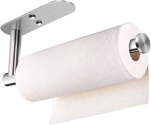 Paper Towel Holder Wall Mount, Under Kitchen Cabinet Paper Towel Holder - Self Adhesive/Drilling Towel Paper Roll Holder for Kitchen Bathroom, SUS304 Stainless Steel