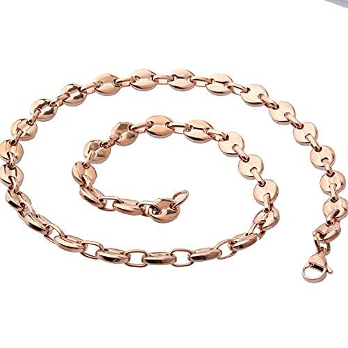 collar Collares de acero inoxidable para hombres y mujeres Cadenas de eslabones en forma de grano de café Hip Hop Rock Joyería de moda 7 mm de ancho 22 pulgadas de largo 4 colores-rose gold_7mm55cm