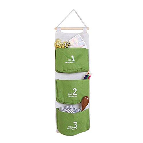 Demarkt 1 pcs Sac de Rangement Suspendu Coton Lin Multifonction Nombres Mignons Sac Organisateur Mural Pochette de Rangement pour Suspendre Corbeilles de Rangement(3 Poches) 55 * 22cm Vert