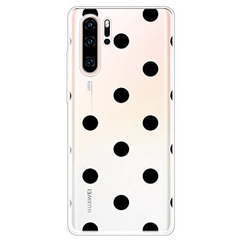 Miagon Klar Hülle für Huawei P30 Pro,Kreativ Silikon Case Ultra Schlank Transparente Weich Handyhülle Anti-Kratzer Stoßfest Schutzhülle,Schwarz Punkt