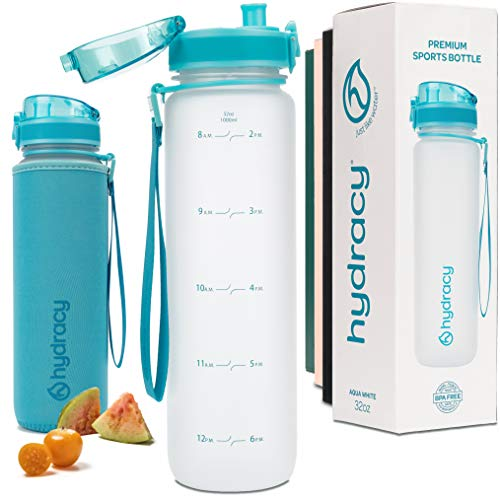 Hydracy Water Bottle with Time Marker - Large 1 Liter 32 Oz BPA Free Water Bottle - Leak Proof & No Sweat Gym Bottle with Fruit Infuser Strainer - Ideal for Fitness or Sports & Outdoors - Aqua White