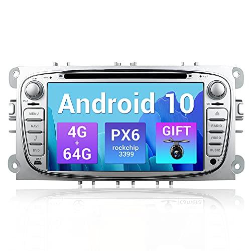SXAUTO PX6 Android 10 Autoradio Compatibile Ford Mondeo/Focus/Fusion/Transit/Fiesta/Galaxy - [4G+64G] - Camera Canbus GRATUITI - 2 Din - Supporto DAB HDMI 4K-Video Volante 4G WiFi Carplay BT5.0