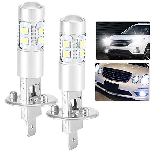 Ampoules de Phare, Ampoules LED de Voiture 2pcs Ampoule universelle 360 Degrés 100W Super Blanc 100W H1 6000K LED Phares de Brouillard Ampoules Extérieures
