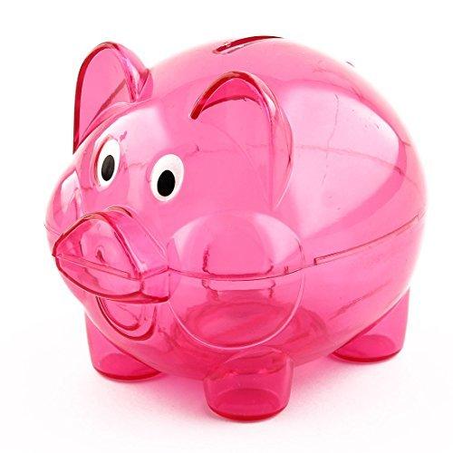 DealMux Forma plástico hogar Cerdo Moneda del Dinero en Efectivo Ahorro Hucha Caja Fucsia