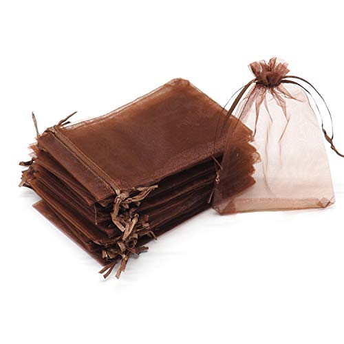 """Dealglad 100pcs Drawstring Organza Jewelry Candy Pouch Party Wedding Favor Gift Bags (3.5x4.5"""", Brown)"""