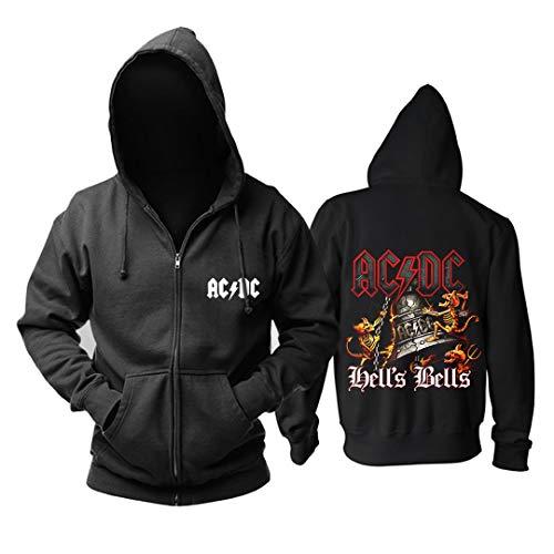 Cárdigan con Cremallera De Manga Larga para Hombre De Invierno ACDC Hard Rock Band Arena Rock Heavy Metal con Capucha Suéter Más Estampado De Terciopelo Chaqueta Casual para Jóvenes (1,XL)