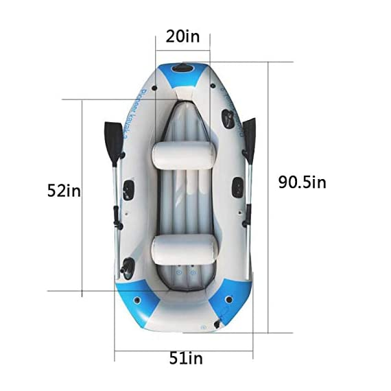 Kayak Series, 3 Person Kayak, Inflatable Kayak Set with Oars and High Output Air Pump (Blue) 90.5 ✕ 51 ✕14 in,Deluxe… 4 High-quality materials: the hull adopts tough SUPER-TOUGH (PVC)Made of polymer materials, thickened and wear-resistant greatly improves the pressure resistance of the air chamber, It is comfortable to ride and use Four independent airbags: if one is damaged, the other three are not affected,4-5 Boston valves on main hull chamber for quick-fills and fast-deflations. air chamber are separate from each other. reducing the risk of accident s in use. Nimble, durable: kayak is made of durable welded material with eye catching graphics for added safety on the lake or slow moving river