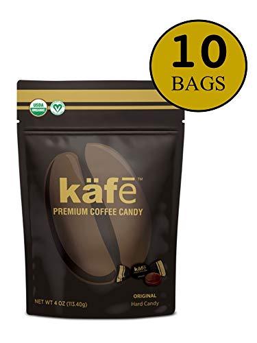 käfē Premium Coffee Candy, Organic, Vegan, Dairy Free, Original Flavor, 4 oz bag, 10 Pack