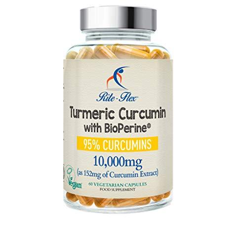 Curcumina de cúrcuma | suplemento de 10,000 mg por Rite-Flex - Píldoras antiinflamatorias con BioPerine- 60