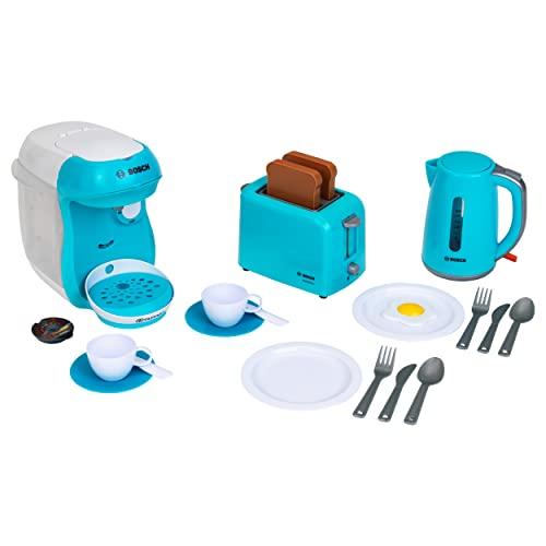 Theo Klein 9598 Zestaw śniadaniowy Bosch I Niebieski zestaw akcesoriów składający się z m.in. tostera, ekspresu do kawy i czajnika | Z talerzami, sztućcami i sztucznym jajkiem sadzonym