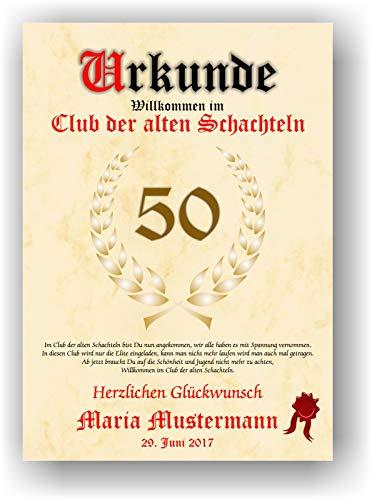 Urkunde ALTE SCHACHTEL - Willkommen im Club der alten Schachteln - personalisierte Geschenk Karte lustige Geschenkidee