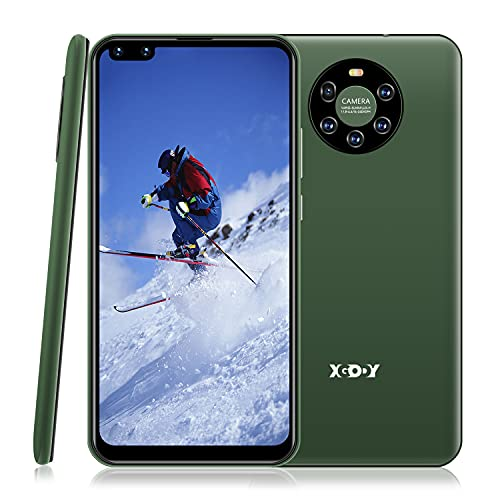 """Xgody Mate40 Smartphone Unlocked, 6.72"""" HD Perforated Screen for Android 8.1 Cellphones Cheap, Dual Sim-Free Mobile Phones with Face ID, Dual 5MP Beauty Cameras + 8GB ROM (Green, 6.72')"""