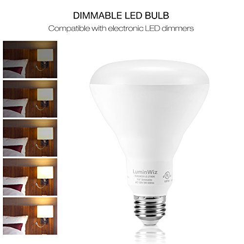 BR30 LED Bulbs, LuminWiz 9W Flood Light Bulb Dimmable, 65W Equivalent 5000K 750lm Crystal White,Medium Base (E26),UL/Energy Star,Pack of 4