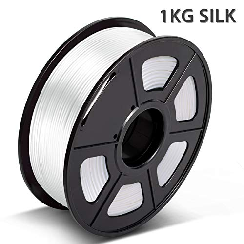 3D Printer Silk PLA Filament 1.75mm,3D Warhorse Silk PLA Filament for 3D Printer,Silk Filament White 1KG/Spool,Dimensional Accuracy +/- 0.02 mm,Printing Smooth