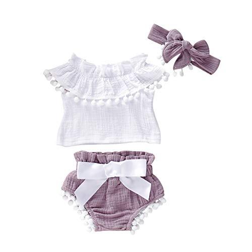 Julhold Baby Mädchen Mode Elegant Ärmellos Rüschen Solide Baumwolle Tops + Quasten Shorts Stirnband Outfits 3-24 Monate